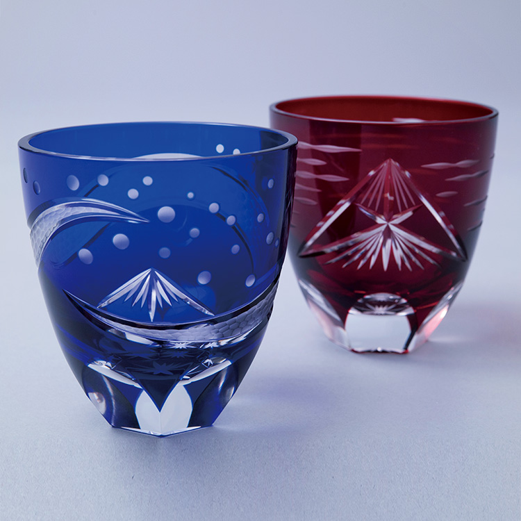 江戸切子グラス「北斎BLUE&RED」